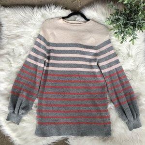 Loft Striped Balloon Sleeve Chunky Sweater